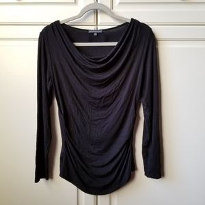 Adrianna Papell Black Top Cowl Neck Long Sleeve M